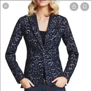 Cabi Jacquard Navy Blue Blazer Jacket 12
